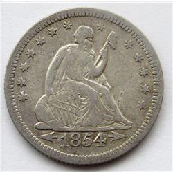 1854-O SEATED LIBERTY QUARTER VF