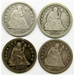 4-SEATED QTRS, 1847, 1856, 1874, 1876