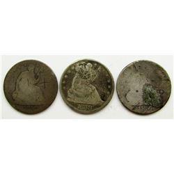 3-SEATED HALF DOLLARS; 1854, (2) 1858