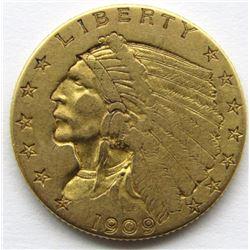 1909 $2.5 DOLLAR INDIAN GOLD QUARTER EAGLE