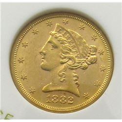 1882-S $5 GOLD LIBERTY BU