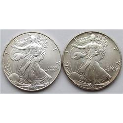 1991 & 1999 AMERICAN SILVER EAGLE