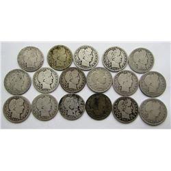 BARBER QUARTER LOT OF 17 COINS
