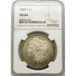 1880-S Morgan Silver Dollar $ NGC MS 64 Nicely