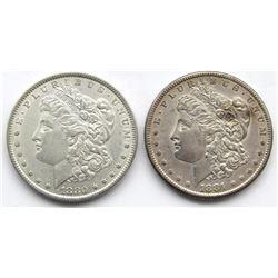 2 - AU MORGAN DOLLARS: 1880 & 1881-S