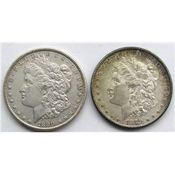 2 - AU MORGAN DOLLARS: 1890 & 1879-S REVERSE '79