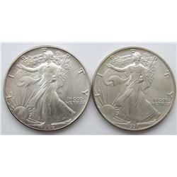 1986 & 1991 AMERICAN SILVER EAGLES
