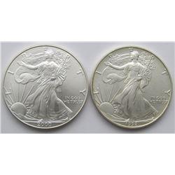 1992 & 2000 AMERICAN SILVER EAGLES