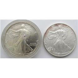 1992 & 2001 AMERICAN SILVER EAGLES