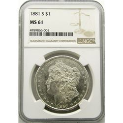 1881-S Silver Dollar $ NGC MS 61