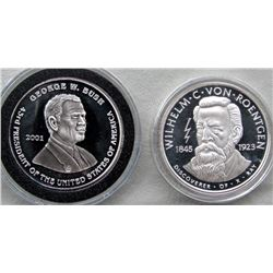2- 1oz .999 SILVER PROOF ROUNDS: