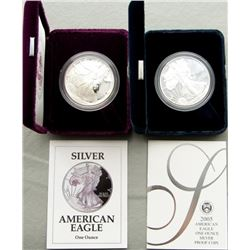 1992 & 2005 PROOF AMERICAN SILVER EAGLE