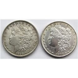 2 - AU MORGAN DOLLARS: 1896 & 1900