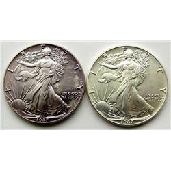 2-1987 AMERICAN SILVER EAGLES
