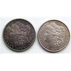 2 - AU+ MORGAN DOLLARS: 1896 RAINBOW & 1897