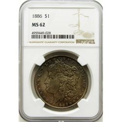1886-P Morgan Silver Dollar $ NGC MS 62 Beautifull