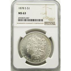 1878-S Morgan Silver Dollar $ NGC MS 63