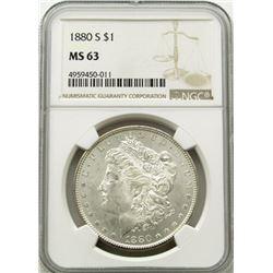 1880-S Morgan Silver Dollar $ NGC MS 63 Blast Whit