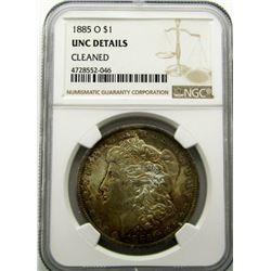 1885-O  MORGAN SILVER $ NGC UNC DETAILS
