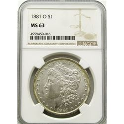 1881-O Morgan Silver Dollar $ NGC MS 63