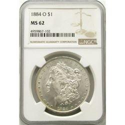 1884-O  Morgan Silver Dollar $ NGC MS 62