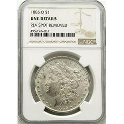 1885-O Morgan Silver Dollar $ NGC UNC Details Reve