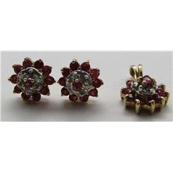 PINK GARNET & DIAMOND PENDANT / EARRING SET