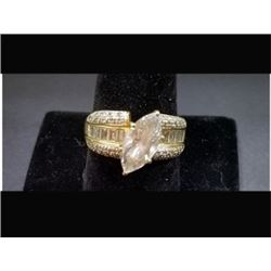 14K LADIES GOLD LG CZ MARQUISE STONE WITH SIDE DIA