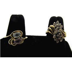2-10k LADIES RINGS; SIZE 8 1/4 COLORED STONES
