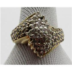 10k GOLD DIAMOND CLUSTER RING - LARGE PIECE
