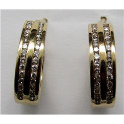 14k GOLD / DIAMOND THICK HOOP EARRINGS