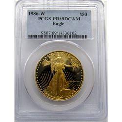1986-W 1 OZ. GOLD $50 U.S. EAGLE PCGS PR69 DCAM