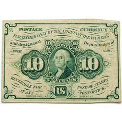 1862 10 CENT FRACTIONAL POSTAL CURRENCY