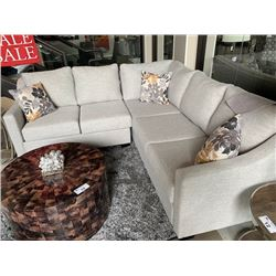 VOGUE DESIGNS LIGHT GREY FABRIC 5 SEAT SECTIONAL SOFA WITH THROW PILLOWS