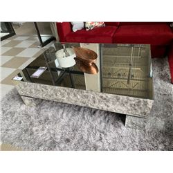 """ESTELLE ANTIQUED MIRROR 40"""" X 56"""" COCKTAIL TABLE WITH DECOR"""