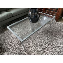 """ARTERIORS METAL & GLASS 48"""" X 24"""" COCKTAIL TABLE WITH DECOR"""