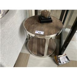 COMPASS RECLAIMED WOOD & STAINLESS STEEL END TABLE