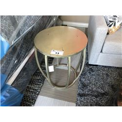 ANTIQUE FINISH STEEL DRUM METAL END TABLE