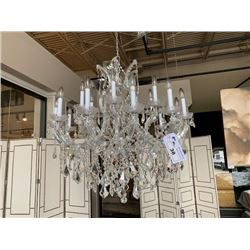 J&M 18 HEAD CANDLE STYLE CRYSTAL CHANDELIER