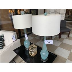 PAIR OF BLUE GLASS BAKELY TABLE LAMPS