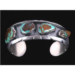 Navajo King's Manassa Turquoise Sterling Bracelet