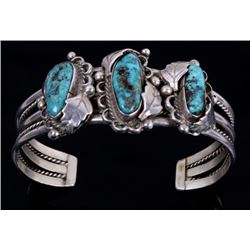 Navajo Signed Silver Floral Kingman Turquoise Cuff