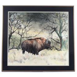 Original Signed Watercolor Buffalo Painting