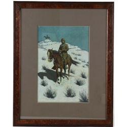 Frederic Remington (1861-1909) Cavalryman Chromo.