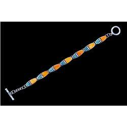 Zuni Signed Inlaid Spiny Oyster Turquoise Bracelet
