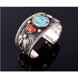 Navajo Sterling Silver Turquoise & Coral Bracelet