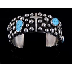 Navajo Sterling Turquoise & Cross Cuff Signed