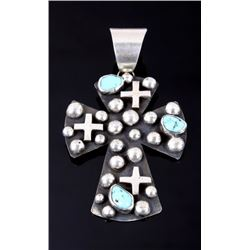 Navajo Sterling Turquoise & Cross Pendant Signed
