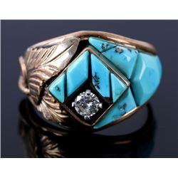 Navajo 14K Gold & Sterling .27ct Diamond Ring