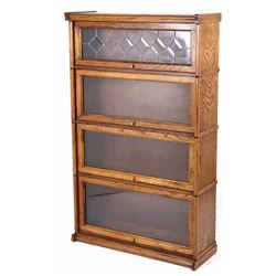 Leaded Glass Four Stack Barrister Lawyers Bookcase